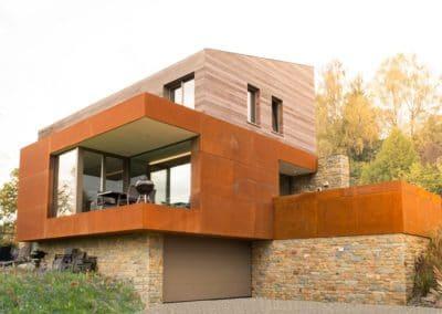Acier corten - Nouvelle construction à Malmedy (Liège)
