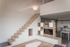 Aménage et fabrication sur mesure d'un escalier et de son meuble tv