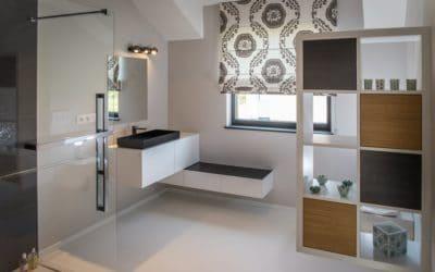 Réalisation sur-mesure de meubles design d'une salle de bain à Spa