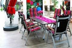 Tables et chaises de jardin + coussins Sun Garden