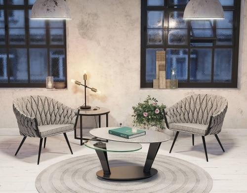 Table et fauteuils Akante (Alain Rosen, revendeur à Malmedy)
